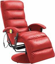 Hommoo TV-Massagesessel Rot Kunstleder VD14109