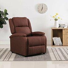 Hommoo TV-Relaxsessel Braun Stoff VD14231