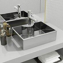 Hommoo Waschbecken mit Wasserhahnloch 48x37x13,5cm