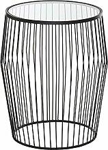 Homy Beistelltisch rund 47cm Metall schwarz Platte