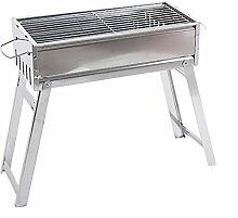 Homyl 1 stück Edelstahl BBQ Holzkohlegrill Standgrill für Camping, Picknicks, Silber, 48x23x42cm
