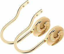 Homyl 2 x Hochwertige Vorhang Hacken aus Metall oder als Kleiderbügel Wandmontage Vorhang Deko,Gold
