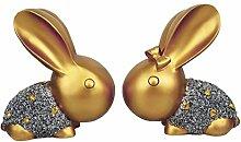 Homyl 2pcs Kaninchen Dekofiguren Gartenfiguren