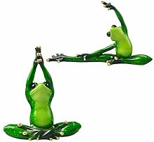 Homyl 2X Yoga Frosch Figur Skulptur Dekofigur