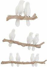 Homyl 3pcs Weiße Vögel Türhakenleiste