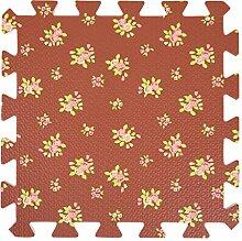 Homyl 9tlg. PE Bodenmatte Puzzleteppich Spielmatte Puzzlematte Soft Baby Kinder, Farbwahl - Braune Blume