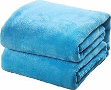 Homyl Hochqualität Flanell Decke Kuscheldecke Schlafdecke Sofadecke für Wohnzimmer Schlafzimmer, Superweich und Leicht - Blau 59x79 Zoll