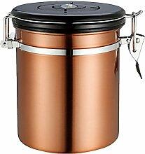 Homyl Kaffeedose - Kaffeebehälter aus Edelstahl mit Deckel und Aromaverschluss - Vorratsdose um Kaffeebohnen oder Kaffeepulver aufzubewahren - Gold, 1.5L