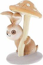 Homyl Kaninchen Unter Pilz Dekofiguren Gartenfiguren Miniatur Gartenskulptur Deko Tischdeko Gartendeko - Orange