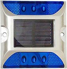 Homyl LED Solar Leuchte außen Garten Solarleuchte Bodenleuchte Aluminiumguss Außenleuchte Wasserdicht Dämmerungsschalter Erdspieß Solar für Rasen Hof Auffahrt - Blau