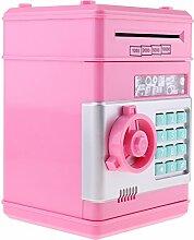 Homyl Mini Elektronische Tresor Form Spardose Sparschwein mit Musik & Blitzlicht, Kinder Weihnachten Geschenke - Pink, # C