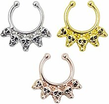 honbay 3 Skulls Fashion Fake Septum Clicker Nase