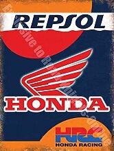Honda Repsol HRC Rennteam Werkstatt Metall/Stahl Wandschild - 30 x 40 cm
