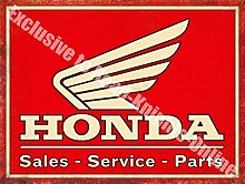 Honda Verkaufs- & Service Teile Motorrad Auto Metall/Stahl Wandschild - 30 x 40 cm