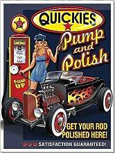 Honest Kitchen Quickies Pumpe und Polish Dose Funny Retro Metall Wand Schild Geschenk Wand Garage Auto Man Cave