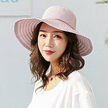 HONEY Frauen Eimer Hüte Fischer Hut Sun Hat Sommer Sonnenschutz Faltbar  Streifen ( Farbe : Pink )