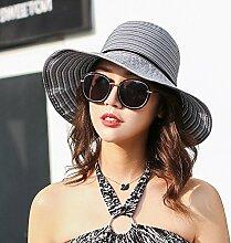 HONEY Frauen Eimer Hüte Fischer Hut Sun Hat Sommer Sonnenschutz Faltbar  Streifen ( Farbe : Schwarz )
