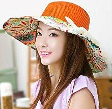 HONEY Frauen Sonnenhut 360 ° Sonnenschutz Breathable Beach Hat Strohhut Large Cap Eaves ( Farbe : Orange )
