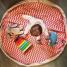 Hongch Leinwand Spielzeug Kleidung Große Aufbewahrungsbeutel Spieldecke Spielmatte Kinder Dekoration