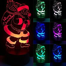 Hongfei 3D Weihnachtsmann Nachtlichter Tisch Schreibtischlampe 7 Farbwechsel