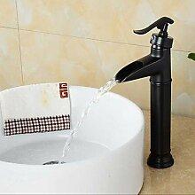 HONGLONG Badezimmer mit Öl eingerieben Bronze Wasserfall einzigen Griff einzelne Bohrung Waschbecken Wasserhahn