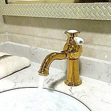 HONGLONG Badezimmer Waschbecken Wasserhahn antiken Centerset verbreitet mit Keramik Ventil einzigen Griff ein Loch für Ti-PVD Badezimmer Waschbecken Wasserhahn