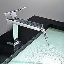 HONGLONG Badezimmer Waschbecken wasserhahn Hochwertige Waschbecken Wasserhahn im modernen Stil einzigen Griff Wasserfall Waschbecken Wasserhahn (verchromt) Badezimmer Waschbecken Wasserhahn