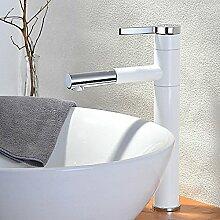 HONGLONG Badezimmer Waschbecken wasserhahn Hochwertige weiße Badezimmer einzigen Griff ein Loch Waschbecken Mischbatterie mit Drehen des Auswurfkrümmers (Hoch) Badezimmer Waschbecken Wasserhahn