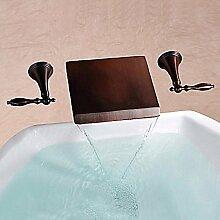 HONGLONG Badezimmer Waschbecken wasserhahn Messing antik Wasserfall Öl eingerieben Bronze Wand zwei Bohrungen Zapfhahn Badezimmer Waschbecken Wasserhahn montier