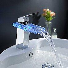 HONGLONG Badezimmer Waschbecken Wasserhahn modern mit Chrom einzigen Griff ein Loch, Merkmal für LED/Wasserfall Bad Waschbecken Wasserhahn