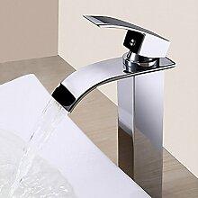 HONGLONG Badezimmer Waschbecken Wasserhahn modern mit Chrom einzigen Griff ein Loch Badezimmer Waschbecken Wasserhahn