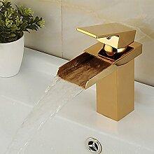 HONGLONG Badezimmer Waschbecken wasserhahn Moderne Goldmessing Wasserfall mit warmen und kalten Badezimmer Badezimmer Waschbecken wasserhahn Wasserhahn