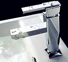 HONGLONG Badezimmer Waschbecken Wasserhahn Rautenform einzigen Griff Chrom Fertig massiv Messing Wasserhahn