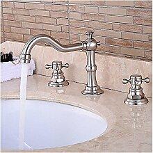 HONGLONG Badezimmer Waschbecken wasserhahn Zeitgenössische Keramik Ventil zwei Griffen drei Bohrungen für Badewanne Armatur chrom/Badezimmer Waschbecken Wasserhahn