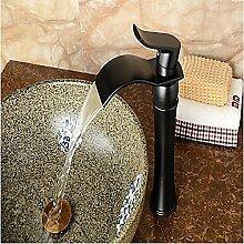 HONGLONG Badezimmer Waschbecken Wasserhahn zeitgenössische Centerset Wasserfall mit Keramik Ventil einzigen Griff ein Loch für Öl- rieb Bronze Badezimmer Waschbecken Wasserhahn