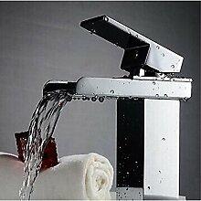 HONGLONG Badezimmer Waschbecken Wasserhahn zeitgenössische Centerset Wasserfall mit Keramik Ventil einzigen Griff ein Loch für Chrom Badezimmer Waschbecken Wasserhahn