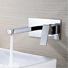 HONGLONG Badezimmer Waschbecken Wasserhahn zeitgenössische Wand montiert Drehbar mit Keramik Ventil einzigen Griff zwei Bohrungen für Chrom Badezimmer Waschbecken Wasserhahn