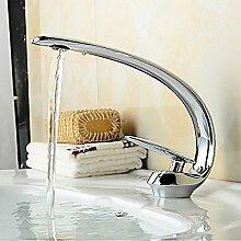 HONGLONG Badezimmer Waschbecken Wasserhahn zeitgenössischen Stil schlanke Form einzigen Griff ein Loch, warmes und kaltes Wasser, Badezimmer Waschbecken Wasserhahn