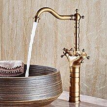 HONGLONG Badezimmer Wasserhahn warmes und kaltes Zuspitzung Zähler Waschbecken Wasserhahn Retro Kupfer Drehbar