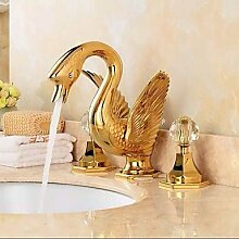 HONGLONG Getrennt Typ zwei Griffe luxuriöse große Swan Form Badezimmer Waschbecken Wasserhahn - Gold