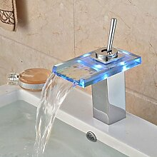 HONGLONG Glas Farbe Wasserfall Waschbecken Wasserhahn Beckentemperatur Mischbatterie