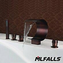 HONGLONG Neue mlfalls Bad Designs fünf Bohrungen Deck Mount Oil-Rubbed Bronze Armatur mit Handbrause