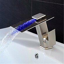 HONGLONG Nickel gebürstet Wasserfall einzigen Griff einzelne Bohrung Toilette Badezimmer Waschbecken Wasserhahn