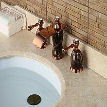 HONGLONG Weit verbreitete zwei Griffen drei Löcher in Rose Gold Waschbecken Wasserhahn