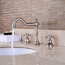 HONGLONG Zeitgenössische Centerset Wasserfall withCeramic Ventil einzigen Griff ein Loch forNickel gebürstet, Waschbecken Wasserhahn