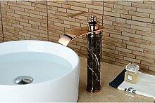 HONGLONG Zeitgenössische Centerset Wasserfall withCeramic Ventil einzigen Griff ein Loch forRose Gold, Waschbecken Wasserhahn