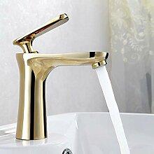 HONGLONG Zeitgenössische Kunst grün Kupfer kalt Warmwasser optional Waschbecken Wasserhahn, golden