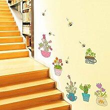 Hongrun Bonsai Garten Hyun entfernen Treppe Aufkleber Glas Papier Tapete Dekor personalisierte Tapete Selbstklebende wall Poster 48 * 115 cm