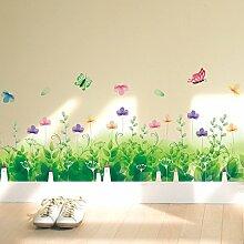Hongrun Büsche Wandaufkleber Wall verzierende Ideen Schlafzimmer Tapete selbstklebende Füße warm wall Poster kleine frische Sockelleisten-137 * 33 cm