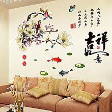 Hongrun Wandaufkleber können Magnolienvögel Wohnzimmer Sofa Hintergrund Wandaufkleber chinesischen Stil alten eleganten Aufkleber 125 * 93cm entfernen